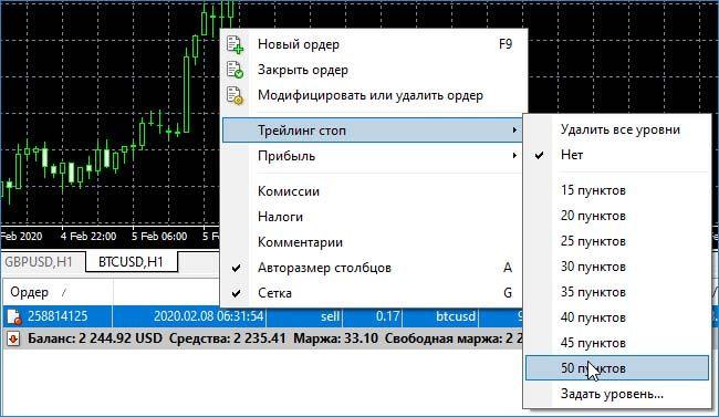 Трейлинг стоп в терминале MetaTrader